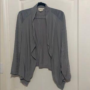 Pure DKNY gray silk cardigan jacket L